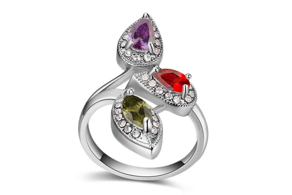 Krystal Couture Ring w/Swarovski Crystals-White Gold/Multicolour Size US 7
