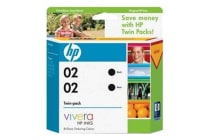 HP genuine 02 Twin Pack Black Ink Cartridge For use in the HP Photosmart 3110/3310