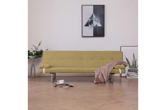 vidaXL Sofa Bed with Two Pillows Green Polyester