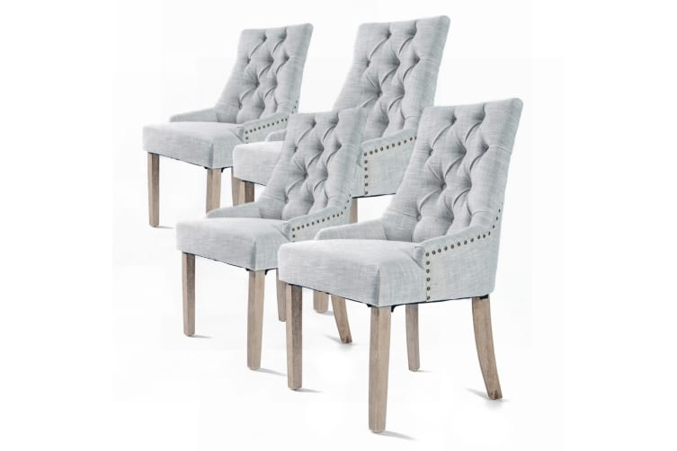 French Provincial Chair >> 2x French Provincial Oak Leg Chair Amour Grey