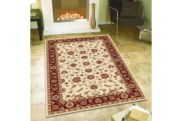 Classic Rug Ivory with Red Border 150x80cm