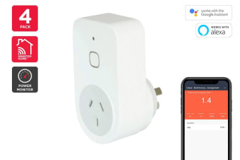 Kogan SmarterHome™ Smart Plug With Energy Meter - Pack of 4