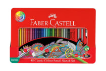Faber-Castell Classic Colour Pencils 48 Piece Sketch Set (Tin Case)