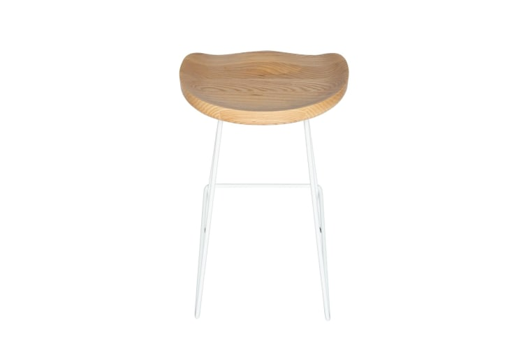 Berny Industrial Stool | White & Natural | 76cm