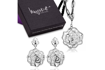Spring Flower Long Necklace & Earrings Set w/Swarovski Crystals-White Gold/Clear