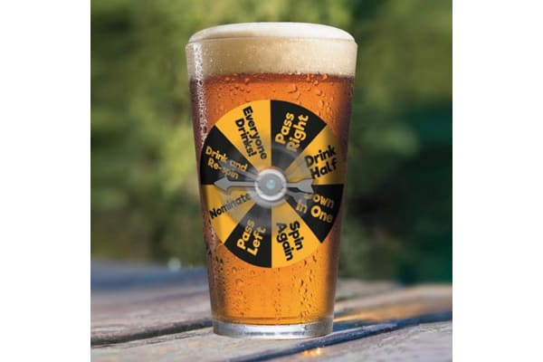 Party Pint Glass Spin-To-Win Spinner Drinking Game   Blue Sky Studios