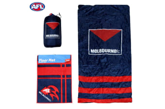 AFL Melbourne FC Camping Sleeping Bag and Rubber Back Floor Mat by AFL