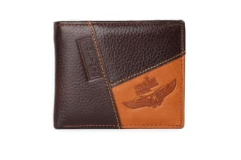 Mens Genuine Leather Patchwork Trifold Wallet Eagle