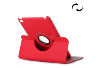 For iPad Mini 4 Wallet Case 360 Degree Rotating Cloth Leather Cover Red