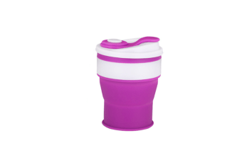 Silicone Collapsible Cup Convenient Travel Coffee Mug Food Grade Silicone Purple 350Ml/Jll-107