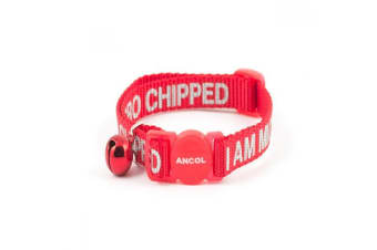 Ancol I Am Microchipped Nylon Safety Cat Collar (Red)