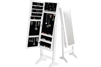 Mirror Jewellery Cabinet Makeup Storage Jewelry Organiser Box Floor Stand Tall