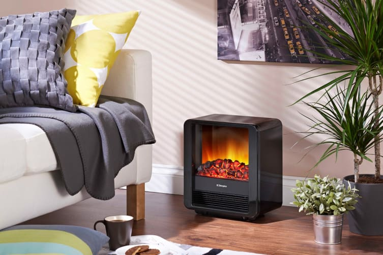 Dimplex 1.5kW Mini Cube Portable Electric Fire Heater with Optiflame Coal Effect - Piano Black (MINICUBE-B)