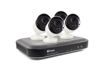 Swann 8 Channel 4K Ultra HD 2TB DVR with 4 x PRO-4KMSB True Detect Thermal Sensing Bullet Cameras (SWDVK-855804)