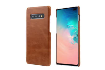 For Samsung Galaxy S10 PLUS Case  Brown Elegant Genuine Leather Phone Cover