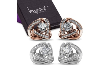 Boxed 2 Pairs Celtic Knot Stud Earrings Set Embellished with Swarovski crystals