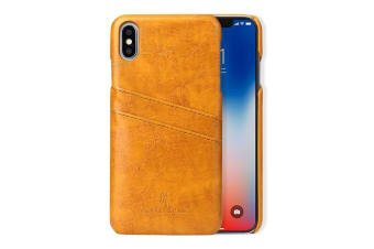 For iPhone XS MAX Cover Deluxe Wallet with Card Slots Leather Phone Case Yellow