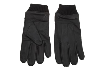 Tom Franks Mens Leather Gloves With Knitted Cuff (Black)