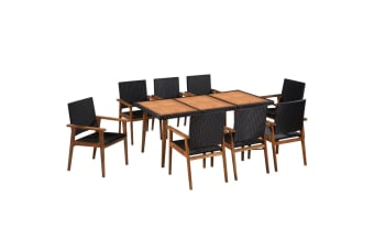 vidaXL 9 Piece Outdoor Dining Set Poly Rattan Black and Brown