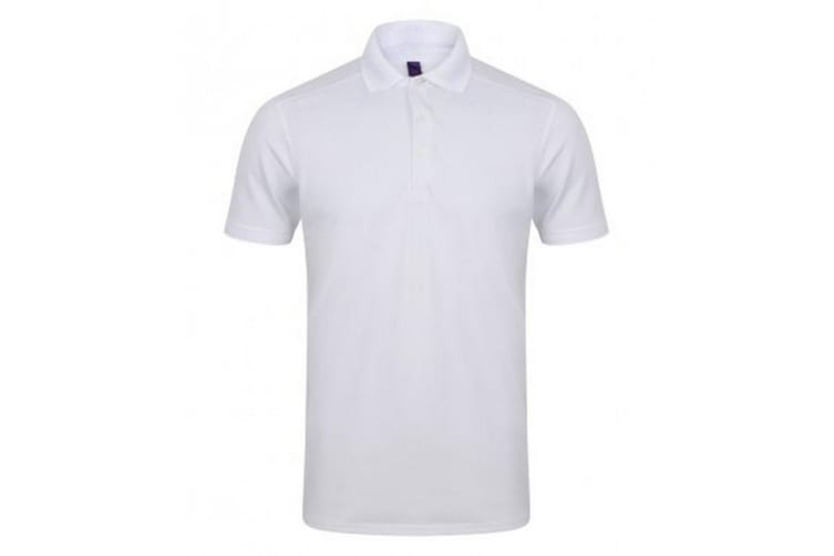 Henbury Mens Stretch Microfine Pique Polo Shirt (White) (3XL)