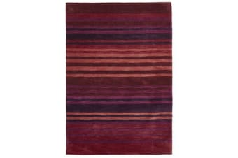 Modern Abrash Stripes Rug Crimson