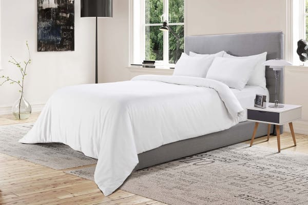Ovela 400TC 100% Bamboo Quilt Cover Set (Single, White)