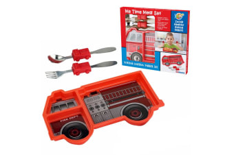 Kids Funwares Me Time Meal Set Spoon Plate Fork Baby Kids 18m+ Fire Engine Red