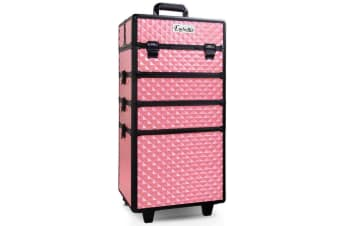 7 in 1 Portable Beauty Make up Cosmetic Trolley Case (Pink Textured)