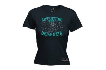 Powder Monkeez Snowboarding Tee - Board Adventure Before Dementia Snowboard - (Medium Black Womens T Shirt)