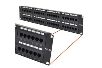 Astrotek 48 Ports UTP Patch Panel CAT5e RJ45 for 19' 2RU Rack Mount Data Network Cabinet Server PCB Type 110/Krone 3U' Black LS