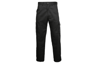 RTY Workwear Mens Polycotton Cargo Trousers / Pants (Black)