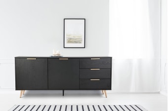 Shangri-La 3 Drawer 2 Door Buffet - Vienna Collection (Black/Gold)
