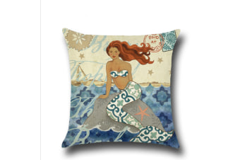Mermaid Cotton Linen Decorative Throw Pillow Case Sets of 4 18X18 Inches 2