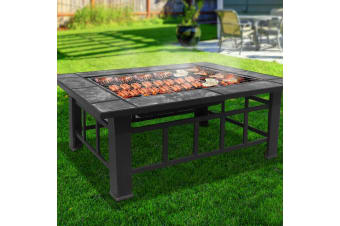 Outdoor Fire Pit BBQ Grill Table Garden Patio Camping Fireplace