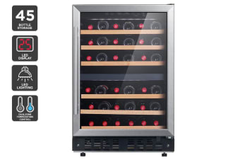 Kogan 45 Bottle Dual Zone Wine Fridge - Stainless Steel