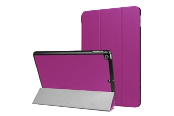 For iPad 2018 2017 9.7in Case Stylish Karst Textured 3-fold Leather Cover Purple