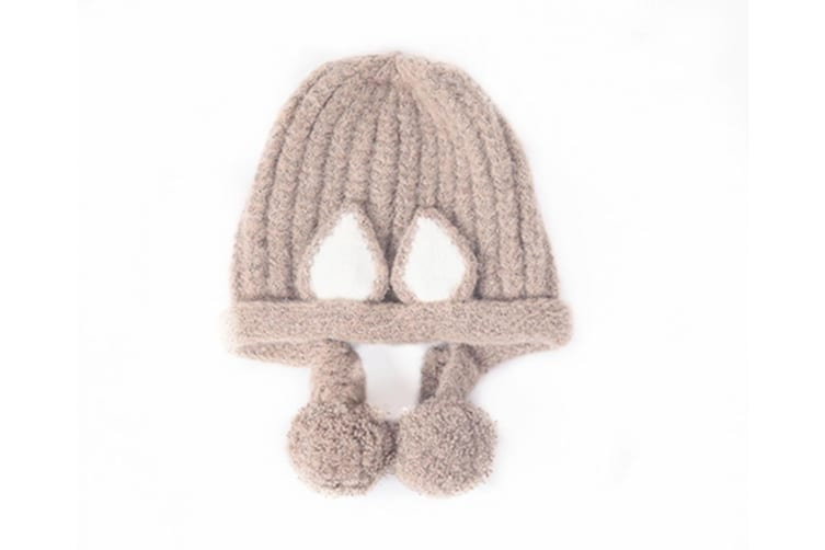 Baby Hat Cute Ear Ball Ear Protector Baby Knitted Outdoor Winter Hat Khaki