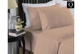 Style & Co 250T Organic Cotton Queen Bed Sheet Flat/Fitted/Pillow Case Set Blush