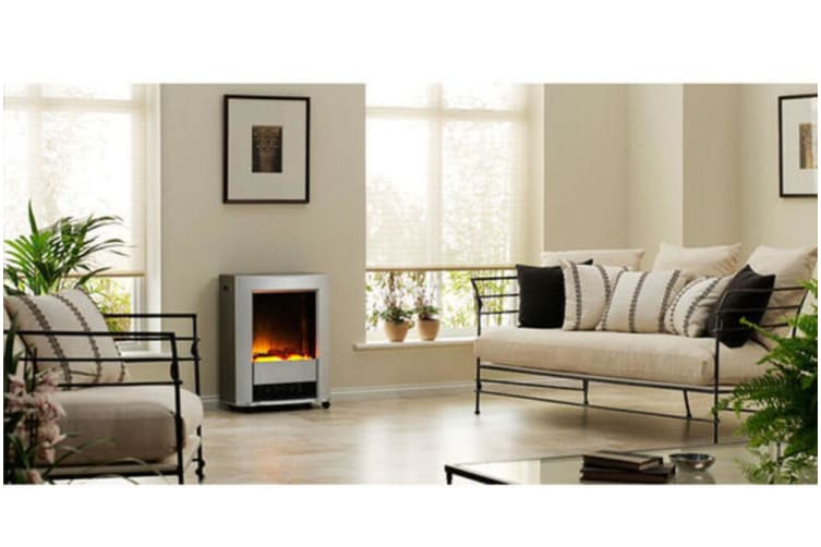Dimplex Lee Silver Electric Fireplace Heater Heat/Flame Smoke Coal Wood Effect