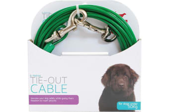 Tie Out Pet Cable Dogs Under 50kg - 6 Metres Long (All Pet)