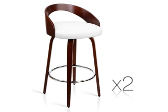 Set of 2 PU Leather Bar Stool with Chrome Footrest (White)