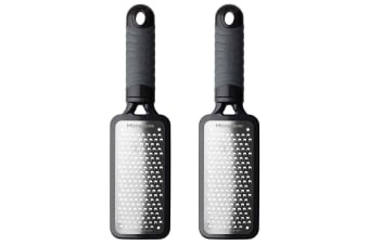 2x Microplane Home Series Coarse Kitchen Stainless Steel Cheese Veggie Grater BK
