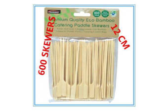 600 x BAMBOO CATERING PADDLE SKEWERS DISPOSABLE FINGER FOOD COCKTAIL BBQ