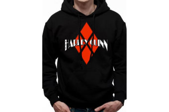 Batman Harley Unisex Adults Quinn Diamond Logo Hoodie (Black)