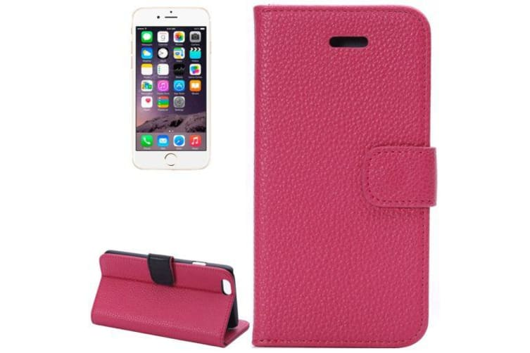 check out 0544c e62e0 For iPhone 6S PLUS 6 PLUS Wallet Case Lychee Leather Shielding Cover Magenta