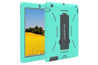 Kids Shockproof Case Heavy Duty Tough Kick Stand Cover For iPad Mini 1/2/3-Type1-MintGrey
