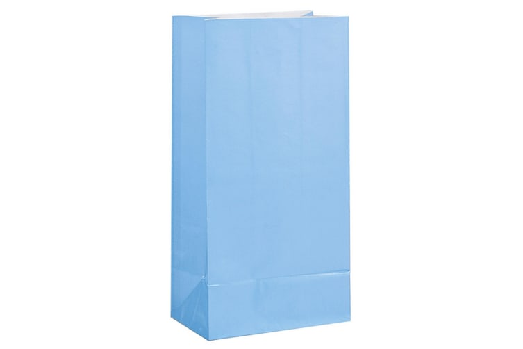 Unique Party Paper Party Bags (Pack Of 12) (Baby Blue) (One Size)