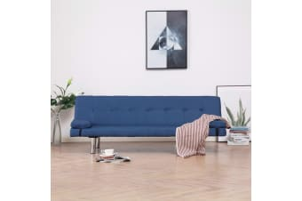 vidaXL Sofa Bed with Two Pillows Blue Polyester