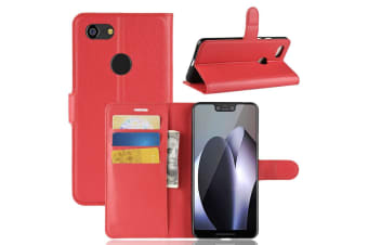 For Google Pixel 3 XL Leather Wallet Case Red Lychee Leather Cover Card Slots