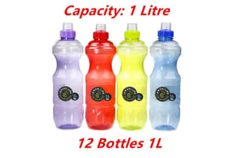 24 x 1L LITRE BPA FREE SPORTS WATER BOTTLE BOTTLES GYM BIKE RUN TRAINING DRINK
